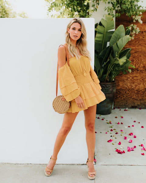Surfside Smocked Tiered Dress - Mustard