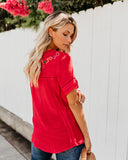 Suspiciously Sweet Embroidered Top - Red