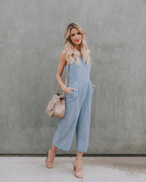 Sutton Chambray Striped Pocketed Jumpsuit