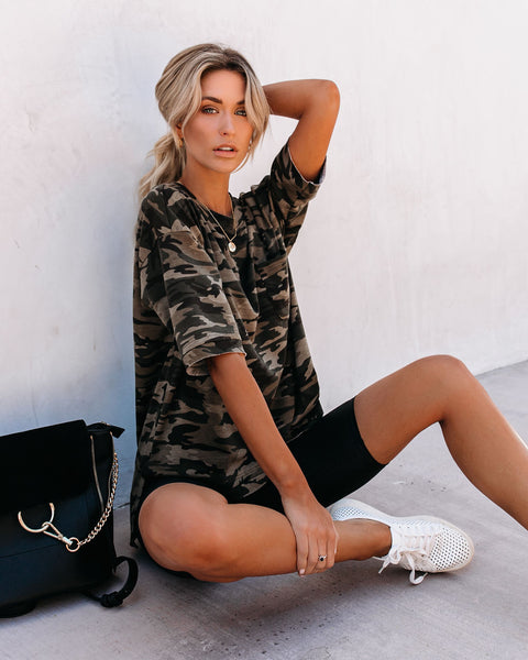 Swamped High Low Knit Camo Tee
