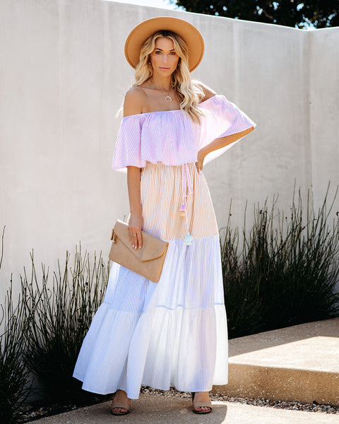 Swaying Palms Cotton Off The Shoulder Maxi Dress
