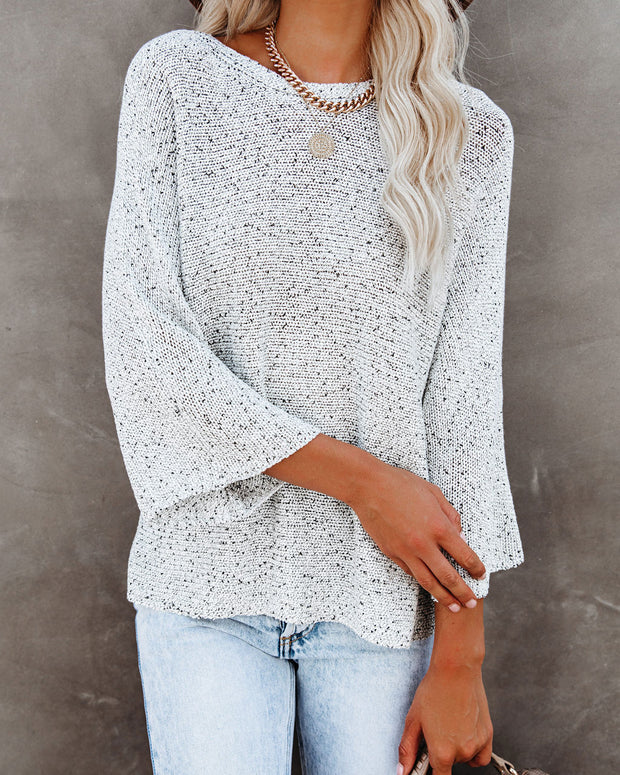 Sweater Weather Speckled Knit Sweater - Stone