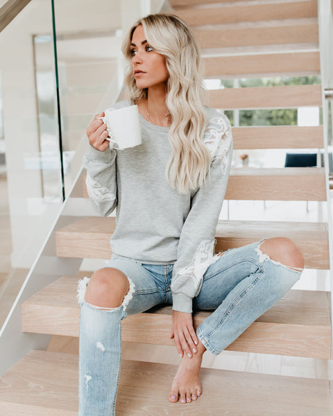 Sweet As Ever Cotton + Lace Sweatshirt - Heather Grey