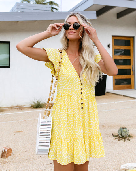 Sweetie Bell Button Down Babydoll Dress - Yellow