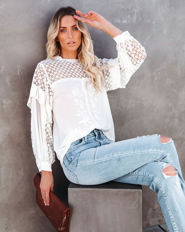 Sweet Like Cinnamon Embroidered Crochet Blouse