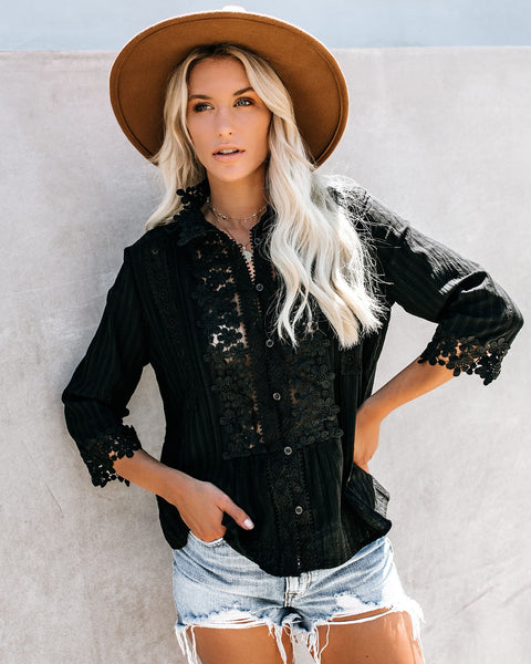 Sweet Mary Crochet Lace Top - Black