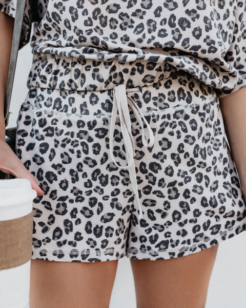 Sweet Natured Leopard Drawstring Shorts