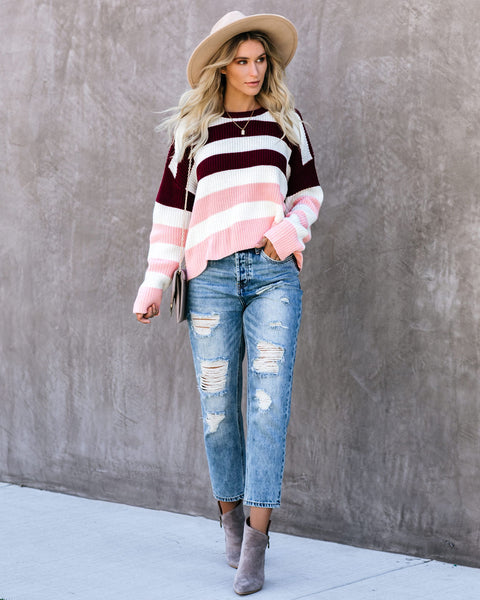 Sweetness In My Life Striped Sweater