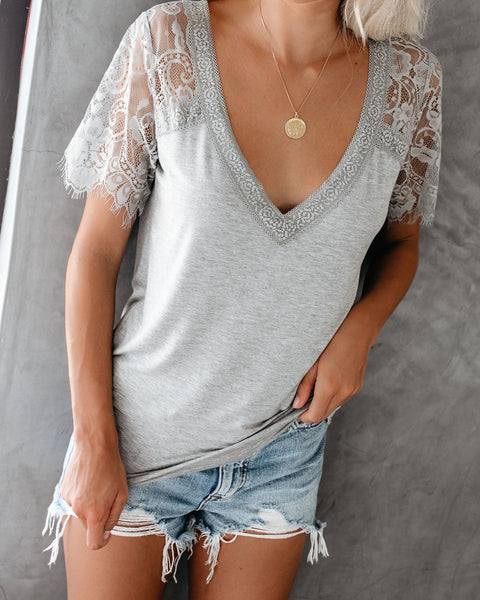 Sweet Side Lace Top - Heather Grey