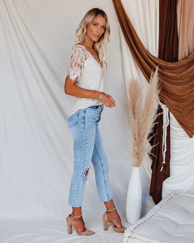 Sweet Side Lace Top - Toasted Almond