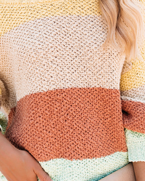 Sweet Spring Cotton Colorblock Sweater