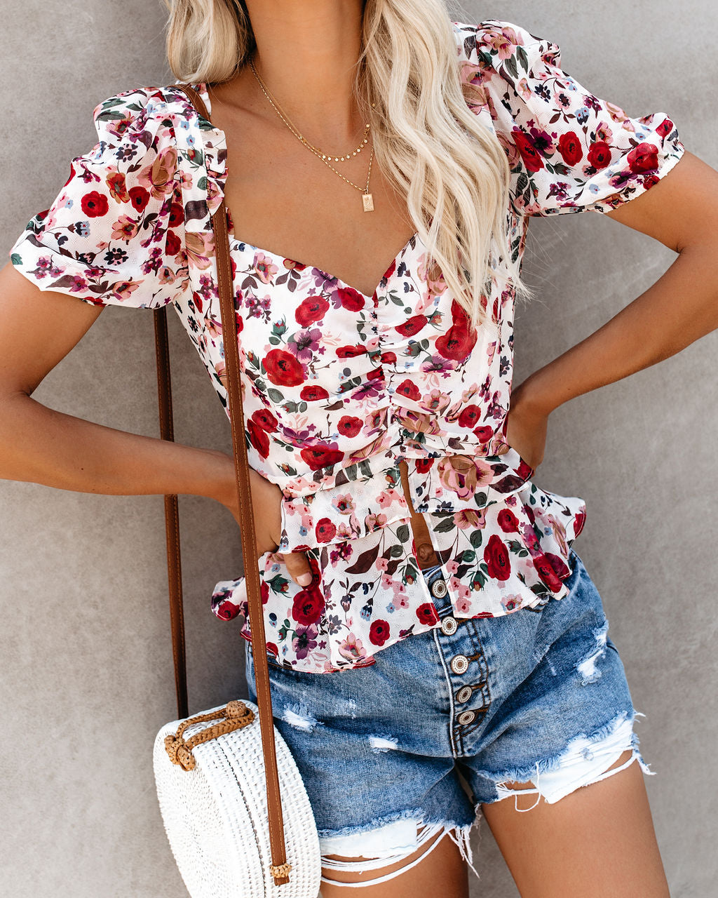 2ef2dbefe8f Swept Off My Feet Floral Ruffle Top – VICI