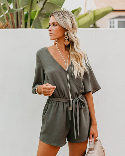 Swipe Right Pocketed Kimono Romper - Olive