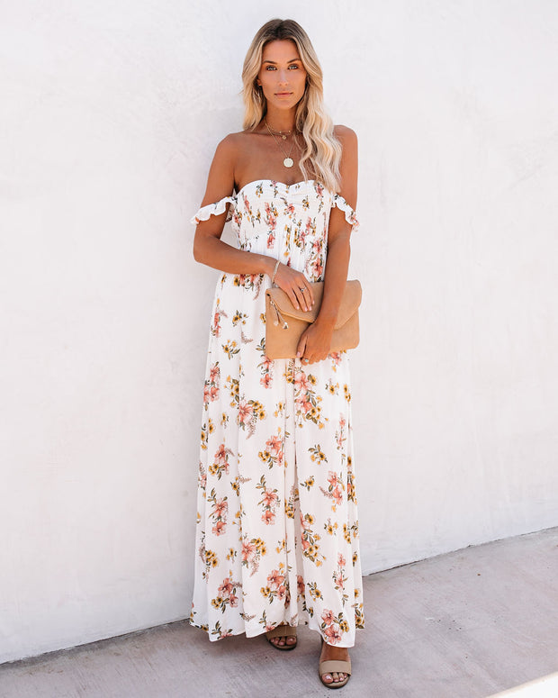 Swirl And Sip Smocked Off The Shoulder Maxi Dress