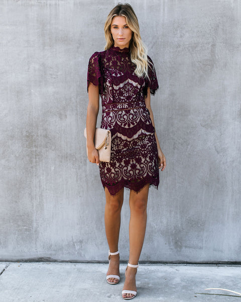 Symphony Mock Neck Lace Dress - Wine