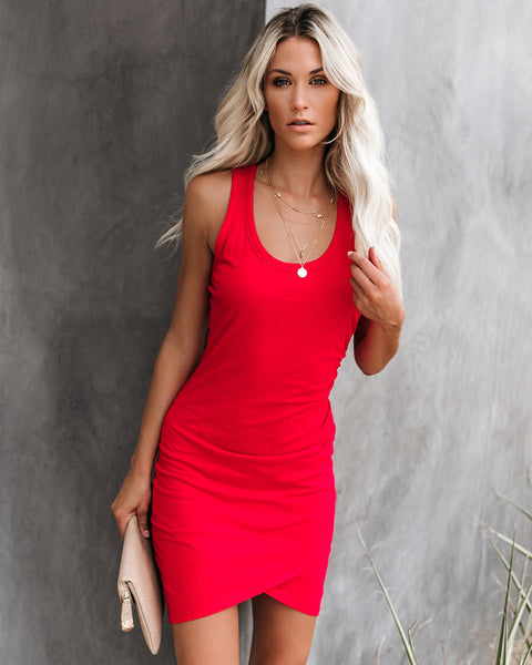 PREORDER - Synergy Ruched Jersey Tank Dress - Chili