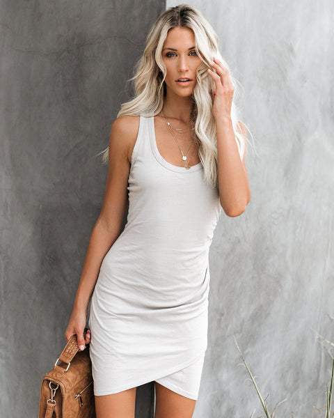 Synergy Ruched Jersey Tank Dress - Rock