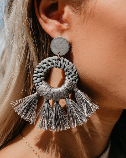 Tahiti Woven Fringe Earrings - Grey