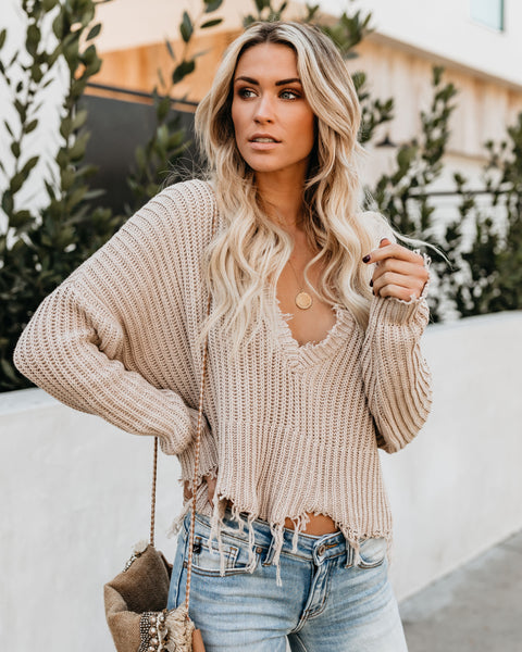 Tainted Love Cotton Distressed Sweater - Mocha