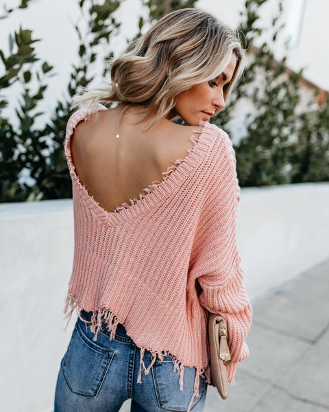 Tainted Love Cotton Distressed Sweater - Pink
