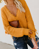 Tainted Love Cotton Distressed Sweater - Mustard