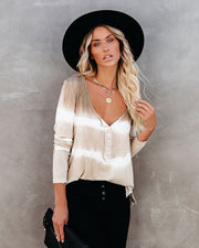 Take Me Anywhere Tie Dye Knit Henley Top - Taupe
