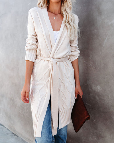 Tallulah Cotton Blend Belted Cable Knit Cardigan