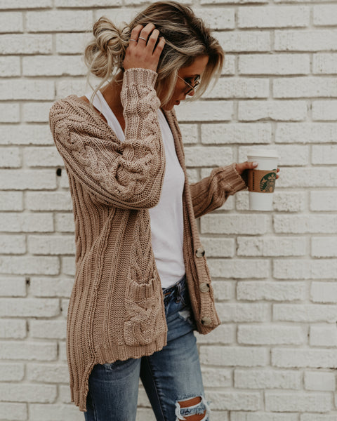 Newman Cable Knit Pocketed Cardigan - Taupe