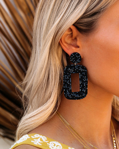 Tao Beaded Statement Earrings - Black