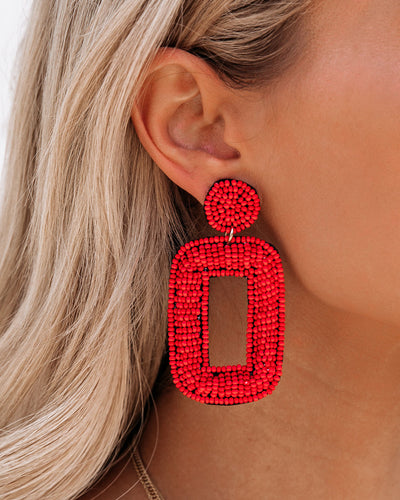 Tao Beaded Statement Earrings - Red