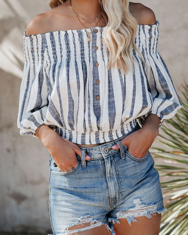 Taryn Cotton Blend Smocked Off The Shoulder Striped Top