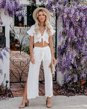 Taste Of Paradise Eyelet Side Slit Pants - FINAL SALE