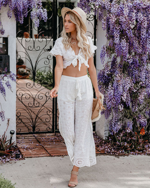 Taste Of Paradise Eyelet Side Slit Pants