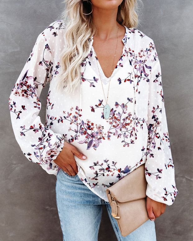 Tazo Floral Swiss Dot Blouse
