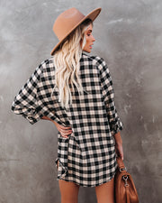 Teagan Pocketed Button Down Plaid Top