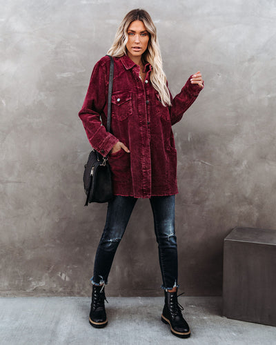 Tempted Cotton Pocketed Corduroy Shacket - Wine