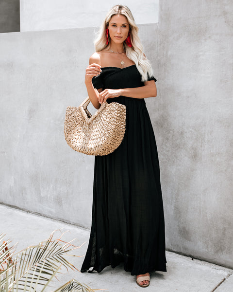 Tempting Smocked Slit Maxi Dress - Black