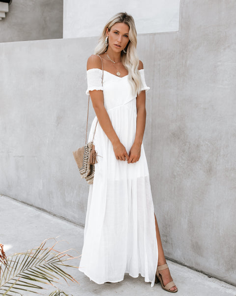 Tempting Smocked Slit Maxi Dress - White