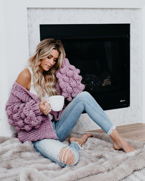 Tender Loving Care Knit Cardigan - Lavender
