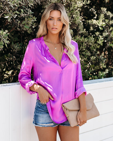 Ten Out Of Ten Satin Damsel Blouse - Fuchsia