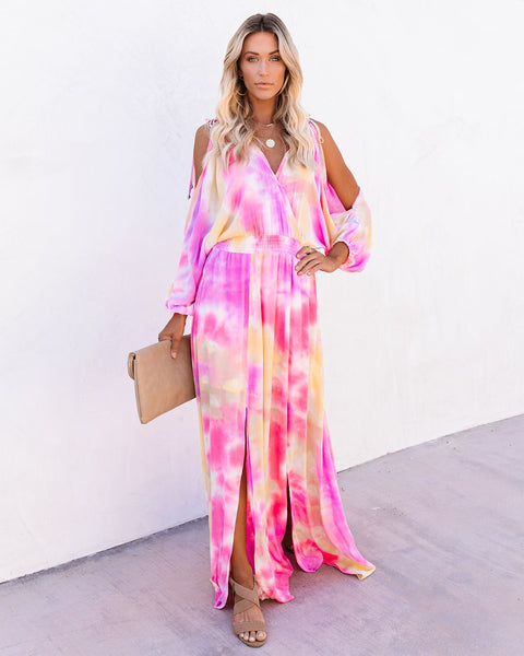 Tequila Sunrise Tie Dye Cold Shoulder Maxi Dress
