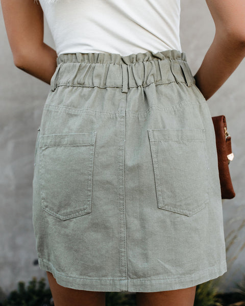 Tess Pocketed Paper Bag Waist Denim Skirt - Light Olive