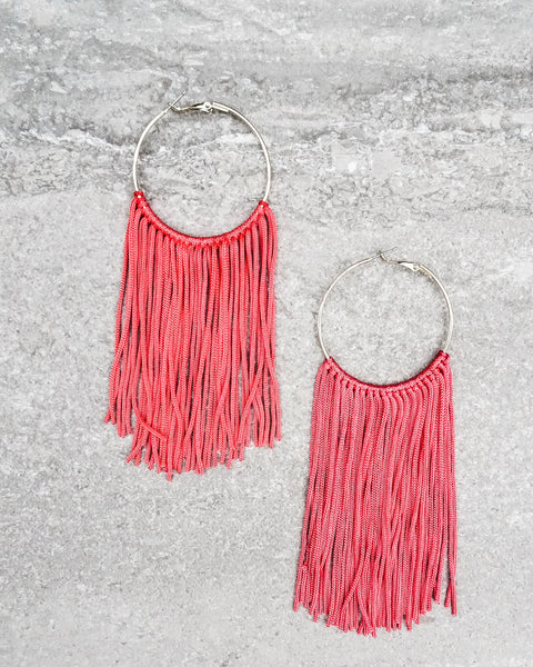 Josephina Fringe Earrings - Coral Red