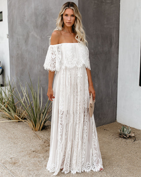 The Best Chapter Off The Shoulder Lace Maxi Dress