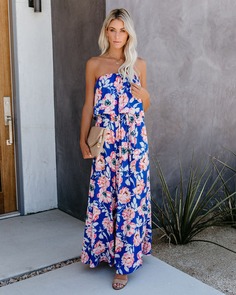 The Bloom Room Strapless Slit Maxi Dress