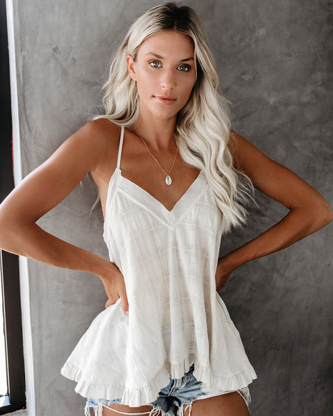 The High Line Cotton Ruffle Racerback Tank - FINAL SALE