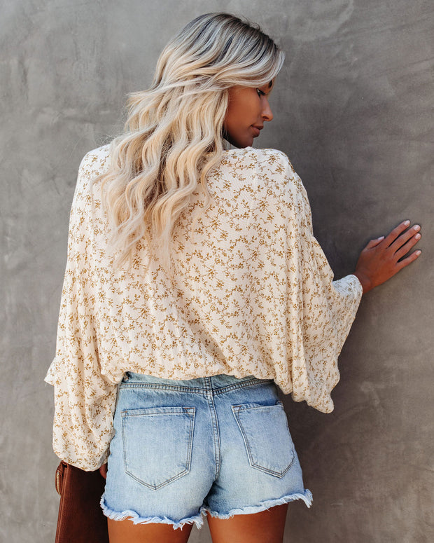 The Hills Are Alive Eyelet Kimono Top - Mustard