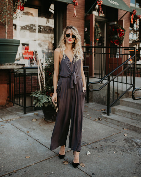 Drape & Dance Pocketed Jumpsuit - Charcoal