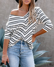 Thelma Chevron V-Neck Knit Top