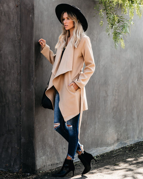 The Pocketed Drape Coat - Camel